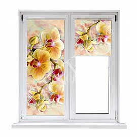 """Рулонная штора лен """"Орхидея живопись"""", 52 см"""