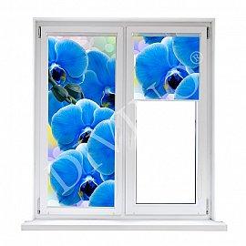 """Рулонная штора термоблэкаут """"Орхидея синяя"""", 43 см"""