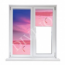 "Рулонная штора лен ""Фламинго на закате"", 57 см"