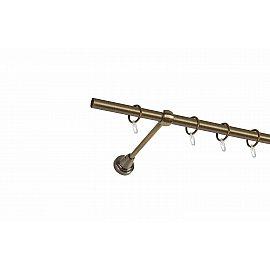 Карниз металлический 1-рядный золото антик, гладкая труба, 240 см, ø16 мм