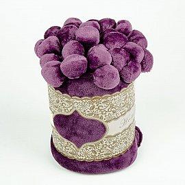 Плед с помпонами, фиолетовый, 200*220 см