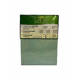 Простынь сатин на резинке, ментол, 90*200 см