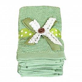 Набор полотенец с лентой Arya Button, зеленый, 30*30 см - 6 шт