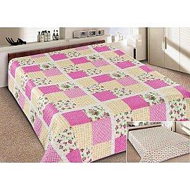 Покрывало Elegant (пэчворк) №070, бежевый, розовый, 220*240 см