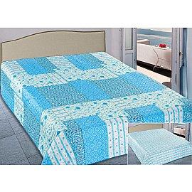 Покрывало Elegant (пэчворк) №073, голубой, белый, 220*240 см