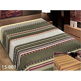 Покрывало Elegant (пэчворк) №15-001, зеленый, коричневый, 200*220 см