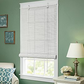Бамбуковая рулонная штора, белый, 80 см