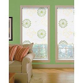 """Рулонная штора ролло lux """"Samba"""", белый, цветы зелено-желтые, 60 см"""