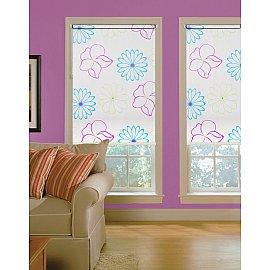 """Рулонная штора ролло lux """"Samba"""", белый, цветы голубые, розовые, 140 см"""