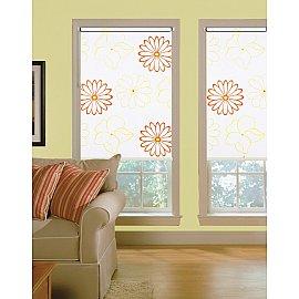 "Рулонная штора ролло lux ""Sirtaki"", белый, цветы желто-оранжевые"