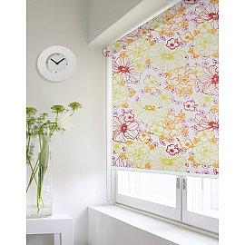 """Рулонная штора ролло lux """"Sirtaki"""", мелкий цветок зеленый, оранжевый, розовый, 180 см"""