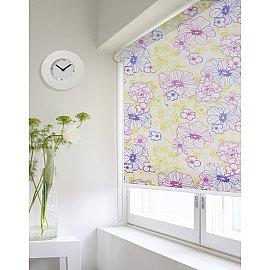 """Рулонная штора ролло lux """"Sirtaki"""", мелкий цветок желтый, фиолетовый, розовый, 140 см"""