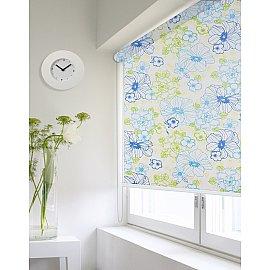 """Рулонная штора ролло lux """"Sirtaki"""", мелкий цветок синий, голубой, 180 см"""