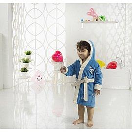 """Халат детский велюр """"KARNA SNOP"""", на 4-5 лет, синий (саксен)"""
