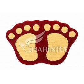 Коврик Shahintex Лапки Microfiber совмещенные, красный 20, 40*60 см