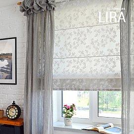 """Римская штора """"Lira рисунок цветы"""", белый, ширина 140 см"""