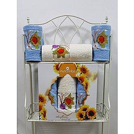 Комплект из 3-х полотенец Merzuka Sunflower в коробке (50*80*2; 70*130*1),  голубой