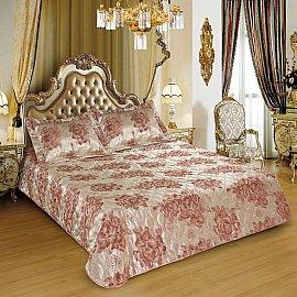 Покрывало I.M.A. LUX Жаккард с наволочками №101, золотой, розовый, 200*220 см