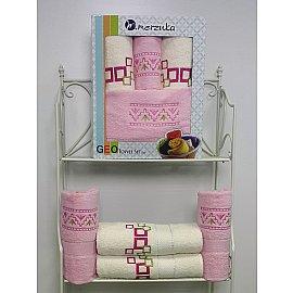 Комплект из 4-х махровых полотенец Geo в коробке (50*90; 70*140), светло-розовый