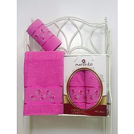 Комплект из 2-х полотенец Merzuka Prestij в коробке (50*90; 70*140), темно-розовый