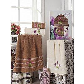 Комплект из 4-х махровых полотенец Tulips в коробке (50*80; 70*130), коричневый
