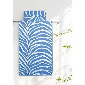 """Полотенце """"Aquarelle Мадагаскар зебра"""", белый, спокойный синий, 70*140 см"""