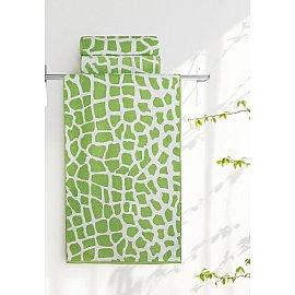 """Полотенце """"Aquarelle Мадагаскар жираф"""", белый, травяной, 35*70 см"""