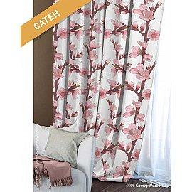 Шторы Этно Сатен Сherry Blossoms, белый, розовый