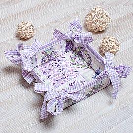 "Декоративная корзинка-салфетка ""Прованс""-1, сиреневый, 27*27 см"