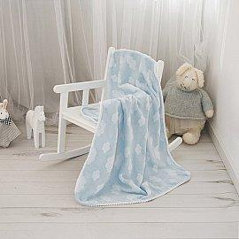 """Плед-покрывало MICRO VELUR 3D с бейкой """"Облака"""", голубой, 100*140 см"""