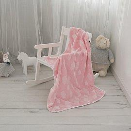 """Плед-покрывало MICRO VELUR 3D с бейкой """"Облака"""" в коробке, розовый"""