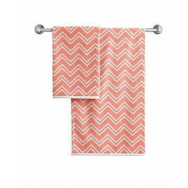 Полотенце махровое Aquarelle Круиз зигзаг, розово-оранжевый, белый, 50*90 см