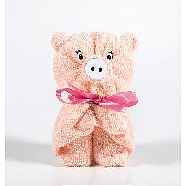 Полотенце махровое Aquarelle Свинки вид 2, розово-персиковый, 70*130 см