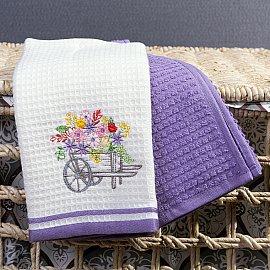 Комплект кухонных полотенец Arya Provense Цветы (40*60 см), белый, фиолетовый