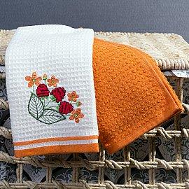 Комплект кухонных полотенец Arya Summer Buket A (40*60 см), белый, оранжевый