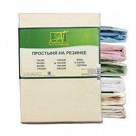 Простынь сатин без резинки, кремовый, 220*240 см