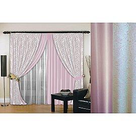 Комплект штор №019, нежно-розовый, белый, 200*260 см