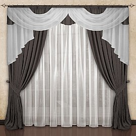 Комплект штор №033 Серо-коричневый