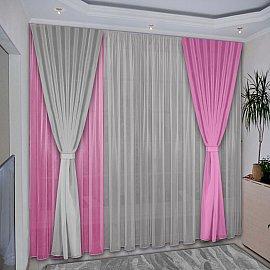 Комплект штор №038 Розовый, Серый
