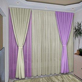 Комплект штор №038 Сиреневый, Ваниль