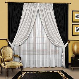 Комплект штор №064 Черный-Белый