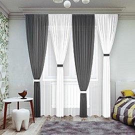 Комплект штор №065-2, черный, белый