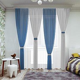 Комплект штор №065, синий, серый