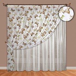 Комплект штор №089 Бабочки (шоколадный)