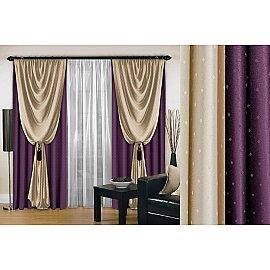 Комплект штор №128, фиолетовый, 250 см