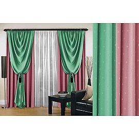 Комплект штор №128, розовый, мятный, 250 см