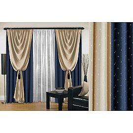 Комплект штор №128, синий, 270 см