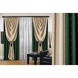 Комплект штор №128, зеленый, 270 см