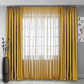 Комплект штор №140, желто-горчичный
