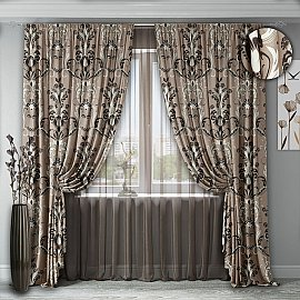 Комплект штор №141, кофейно-коричневый